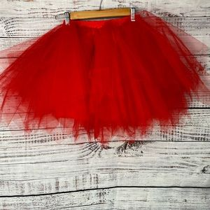 UNBRANDED Red Tulle Tutu Skirt One Size